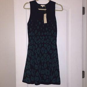 Shoshanna black leopard print sleeveless dress